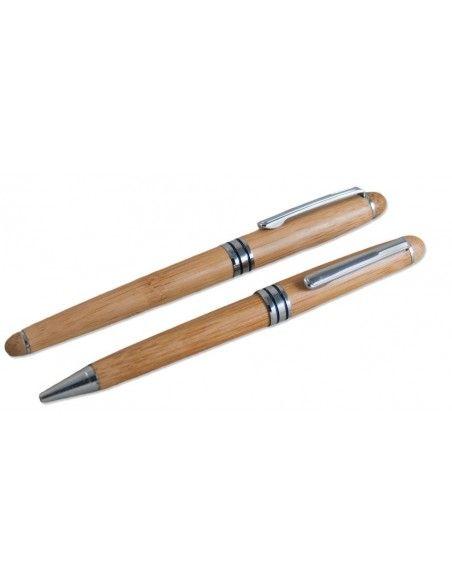 Σετ στυλό από μπαμπού σε ξύλινη θήκη