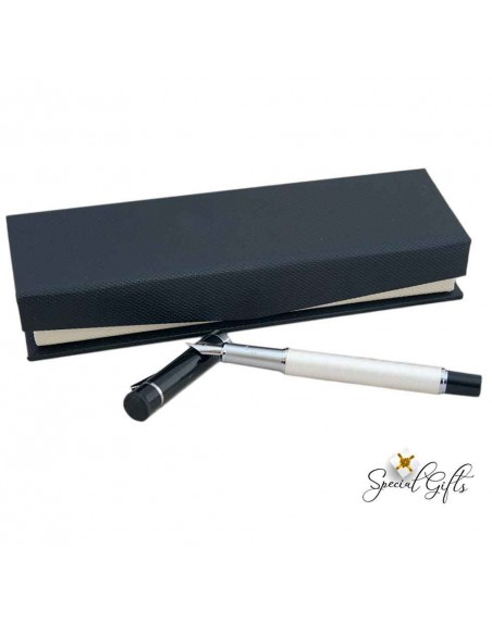 Μetal fountain pen in gift box, blue refill, SANTINI, Pearl