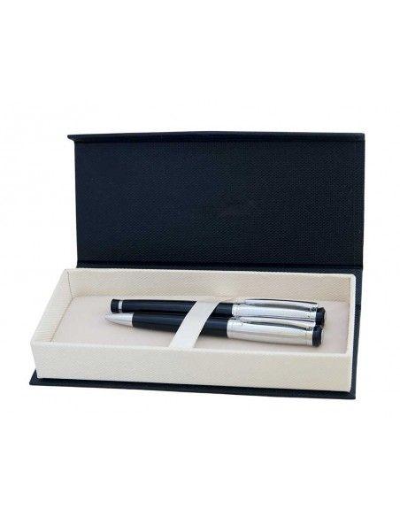 Μetal fountain pen in gift box, blue refill, SANTINI, Pearl