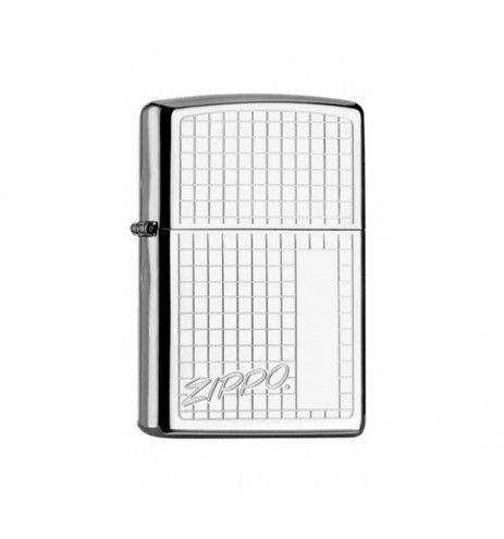 Αναπτήρας Zippo Chrome με τετράγωνα χαραγμένα
