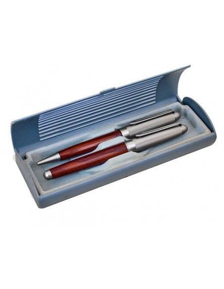 Σετ στυλό-πένα ξύλο με μέταλλο